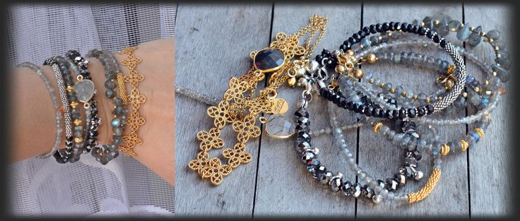 silver and gold plated silver mokobelle, labradorite, Swarovski, spinels