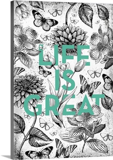 Vintage Illustration Inspiration - Life is Great by Kate Lillyson, available from @greatbigcanvas