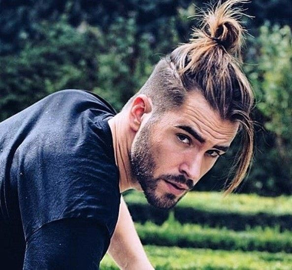 Ponytail Hairstyles For Men Long Curly Hair Men Curly Hair Men Man Bun Hairstyles