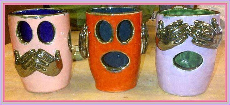 Speak No Evil, Hear No Evil, See No Evil --   Ceramic Sculptures