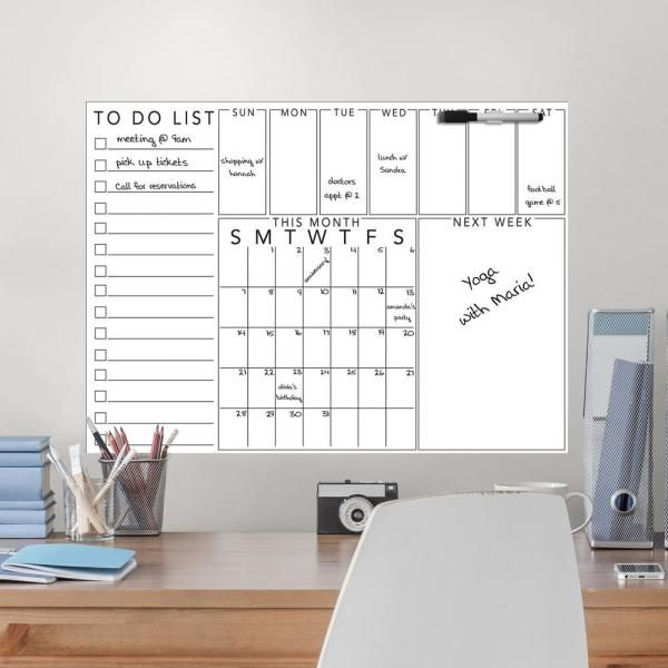Wallpops White Get Organized Message Board Wall Decal Wpe3178 The Home Depot In 2020 Wall Board Getting Organized White Board