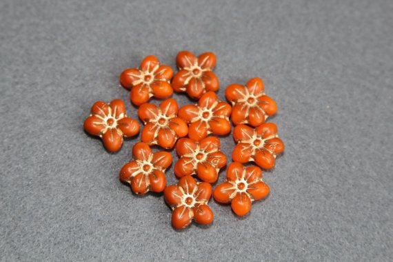 Czech Glass Pressed Floral Beads Flower 5 by BohemianSupplyCo