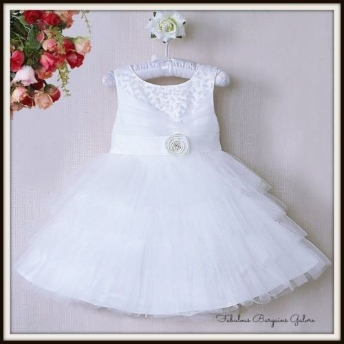 Luccicanti-Con-Lustrini-Foderato-da-Matrimonio-Damigelle-BIANCO-FLOWER-GIRL-DRESS-Kids-Party-UK