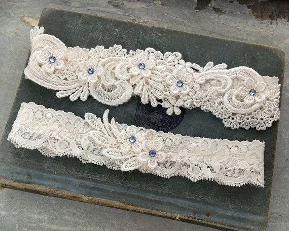 Lace Wedding Garter Set Something Blue by GillyflowerGarters