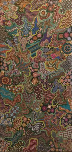 Aboriginal Art Galleries - Linda Smith Penangke - Artwork-DetailThis painting represents the colours of the amazing wildflowers that bloom in the red desert, Alice Springs. The wildflowers just cover the desert ground, with so many brilliant colours, purples, yellows, whites, reds, etc. The wildflowers transform the desert into something that is just amazing to see. Fields and fields of flowers. Running through the mountain ranges, the plains, and near the dry river beds.