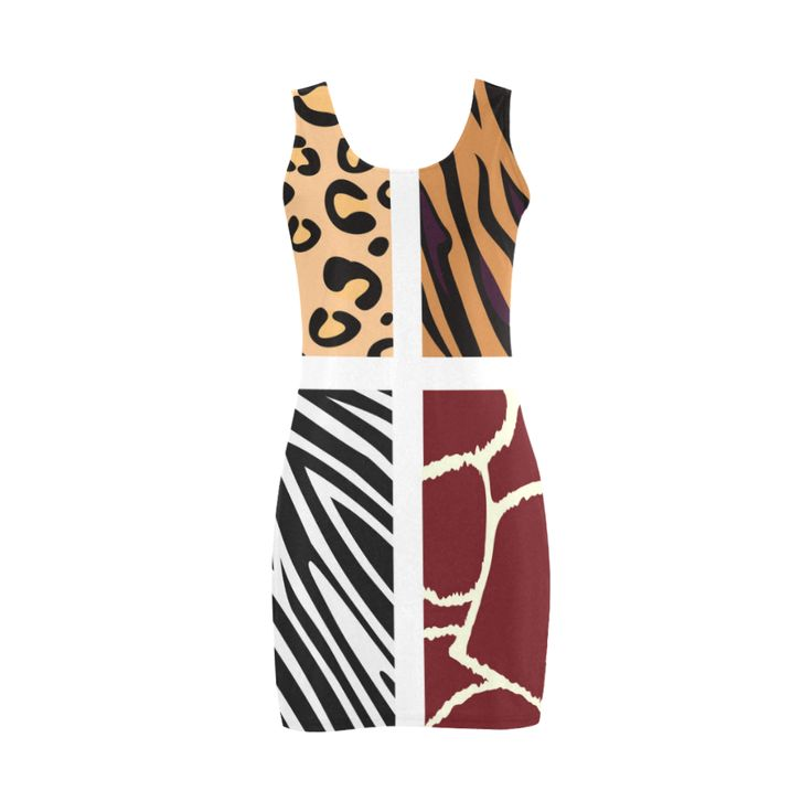 Designers luxury ladies Dress : tiger zebra 60S Medea Vest Dress (Model D06).