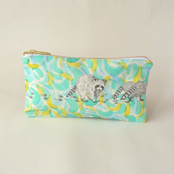This listing is for a digitally printed, hand sewn raccoon pencil case developed from original watercolour and pen and ink illustrations by Leanne Shea Rhem and Zac Kenny