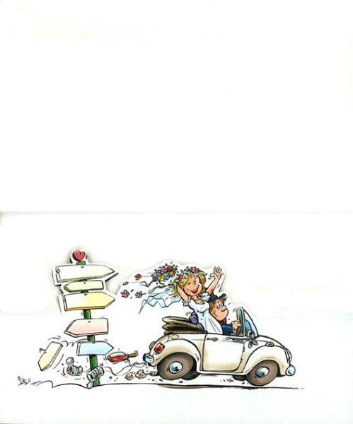 Originelle Comic Hochzeitskarte Mit Freudestrahlendem Brautpaar Im