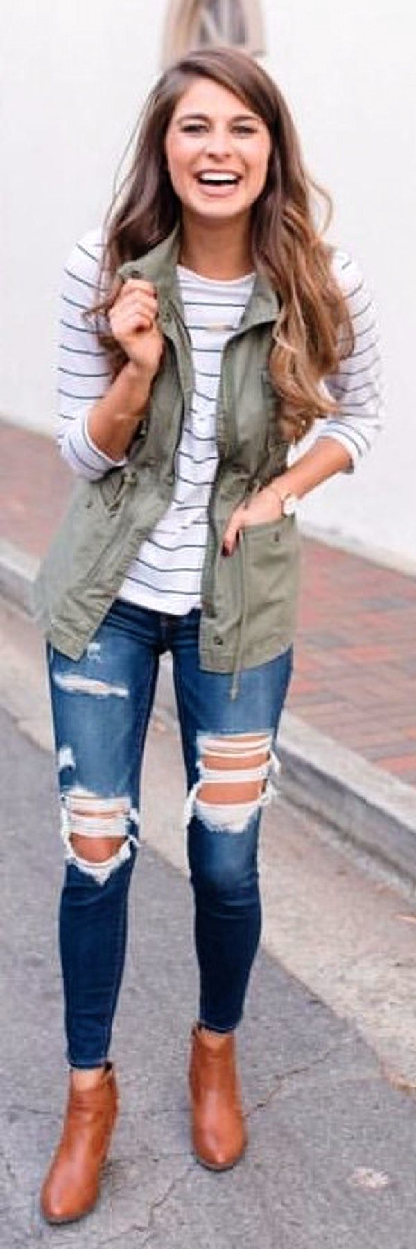 #winter #outfits green zip-up vest