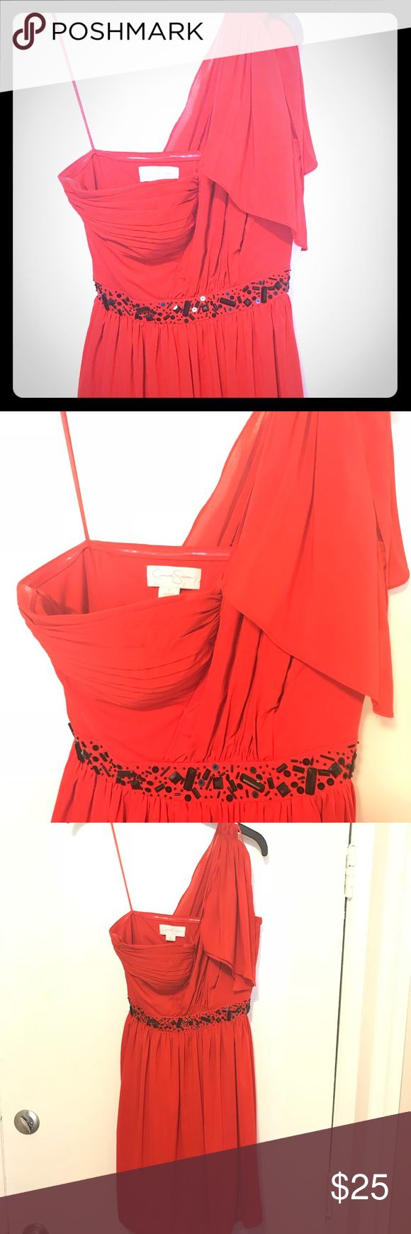 JESSICA SIMPSON Red One Shoulder Mini Dress Fun, flirty, fiery dress ready for a party! | Pristine condition | Dry clean only | 96% poly, 4% spandex Jessica Simpson Dresses One Shoulder