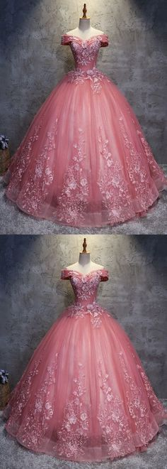 2018 off shoulder pink tulle long handmade evening dress, long ball gown #promdress #promdresses #promgown #promgowns #long #pinkprom #modestpromdress #newpromdress