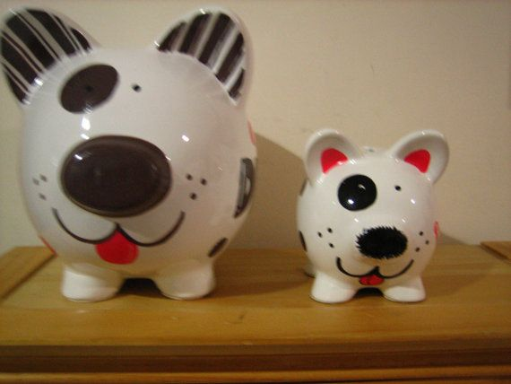 Custom Personalized Large Piggy Bank Puppy by KUTEKUSTOMKREATIONS