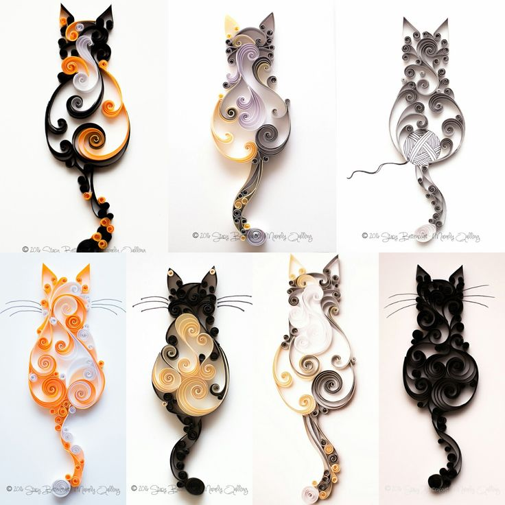 Quilled Scrollwork Cat Series | Mainely Quilling