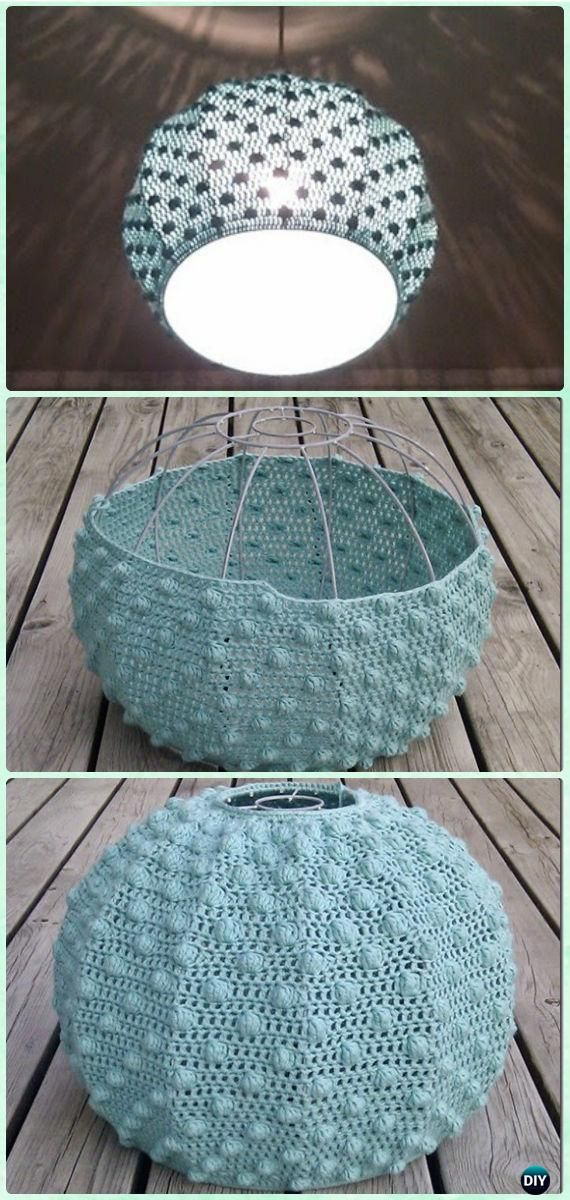 Crochet Bobble Stitch Lampshade Free Pattern - Crochet Lamp Shade Free Patterns