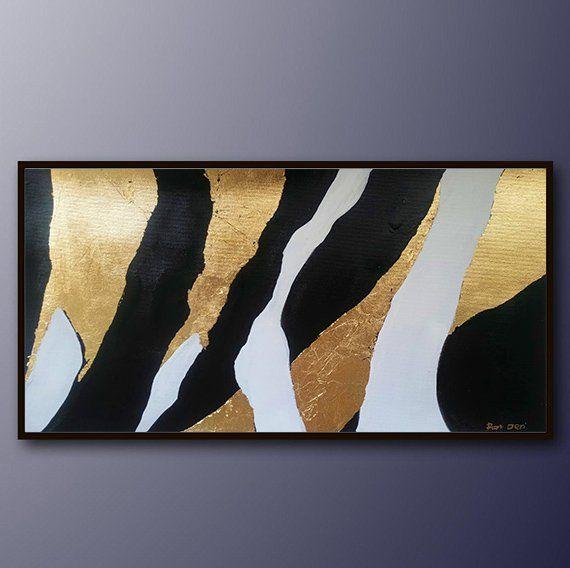 Pintura De Pan De Oro Oro Abstracta Arte Decoracion De La Etsy