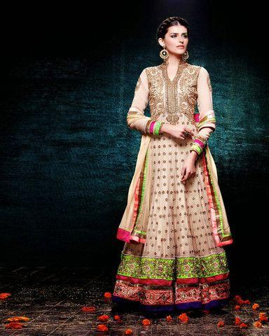 Lehenga gold zari zardozi indian weddings bride bridal wear www.weddingstoryz.com details Cream Floor Length Anarkali