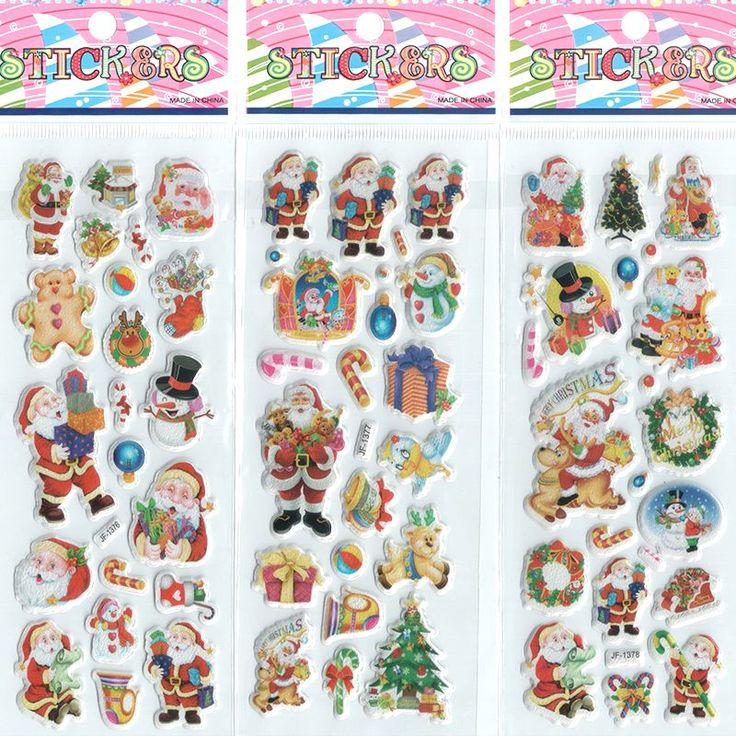 3 unids/lote Pegatinas de Dibujos Animados para Niños y Niñas de Navidad de Santa Claus Decorativo Hermoso Pegatinas De Espuma de inteligencia # ST018