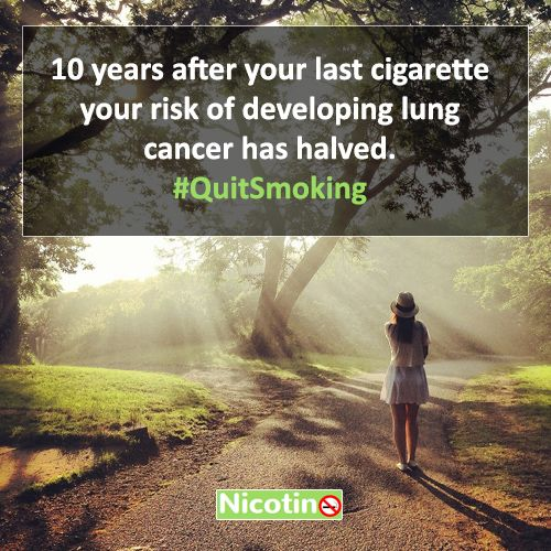 10 years after your last cigarette your risk of developing lung cancer has halved. #QuitSmoking http://nicotino.com/quit-smoking-timeline/