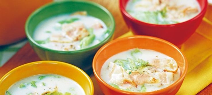 ぽかぽか「ベーコンとレタスの豆乳スープ」