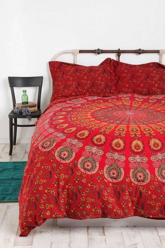Red Mandala Bedding Set King Size Handmade Duvet Cover With 2 Etsy Mandala Duvet Cover Handmade Duvet Covers Duvet Covers Urban Outfitters