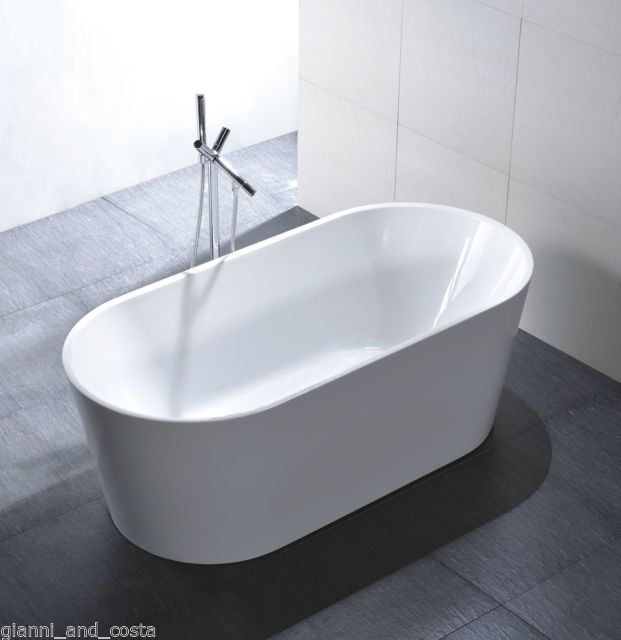 bathroom acrylic free standing bath tub thin edge 1500x750x600 freestanding
