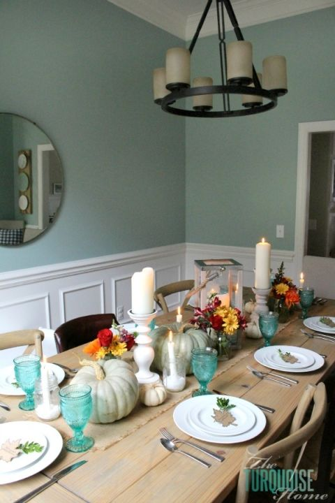 Dining room walls: Wythe Blue from Benjamin Moore {my favorite color in the house!}. Turquoise goblets from Walmart's Pioneer Woman collection. ~ TheTurquoiseHome.com