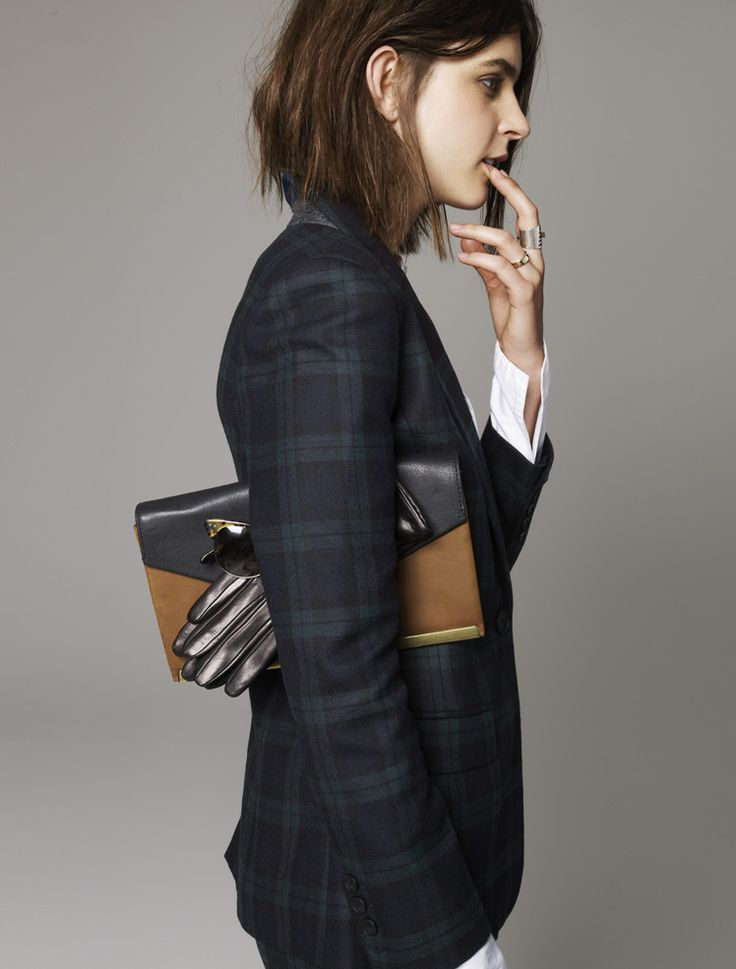 Madewell Dark Plaid blazer worn with The Eaton Clutch + Portolano® leather gloves.