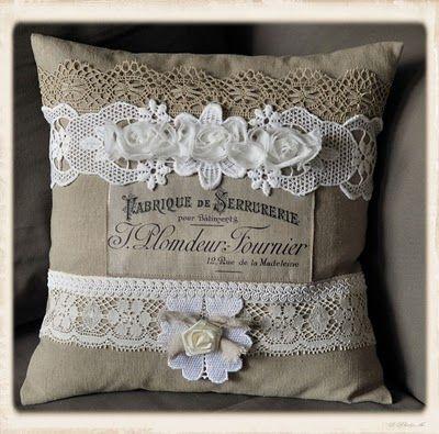 Brag de lunes francés Lino almohada y tarjeta hecha a mano de Aves - los gráficos de hadas