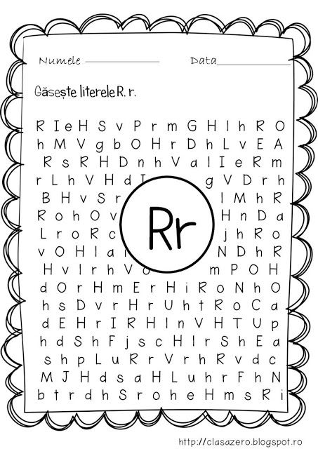 Clasa pregatitoare: Fisa de lucru pentru sunetul si litera R