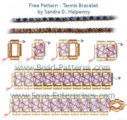 FREE Pattern - tennis bracelet by Sandra D. Halpenny at Sova-Enterprises.com lost of free beading patterns and tutorials are available!