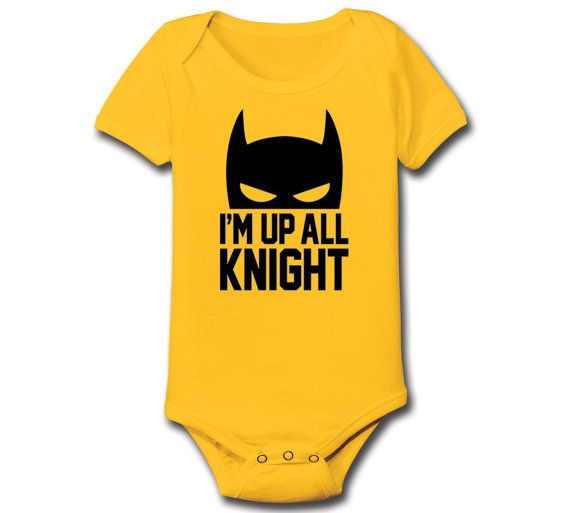 I'm Up All Knight Novelty Comic Superhero Bat Man Birthday Funny Cute Cool Gift Baby Infant One Piece E4330 on Etsy, $8.90