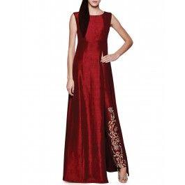 Crimson Red Kurta Set with Embroidered Pants