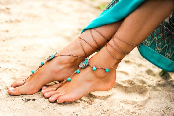 Seashell and Turquoise gemstone Crochet Barefoot sandals, Tan and Turquoise Barefoot sandal, Beach wedding, Soleless sandals, Foot jewelry