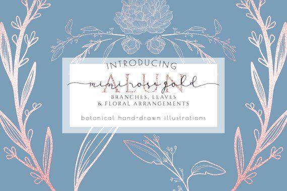 Floral clipart, commercial use, floral branch greenery clip art, rose gold invitation png , branding logo card, laurels outline, hand drawn