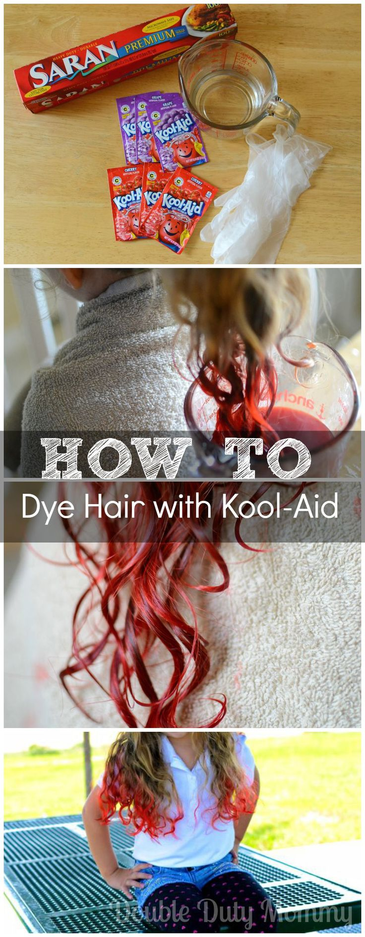 How To Easily Dye Hair with Kool-Aid! #hairdye #diy #haircolor #kidshair #curlyhair #koolaid  NOTE: yes, it's staining your hair... that's what hair color is, yes it takes a while to come out (depending how concentrated you make it), no you shouldn't have to cut your hair that's a drastic move. Please visit my blog and leave a comment on the post if you have any questions or concerns.