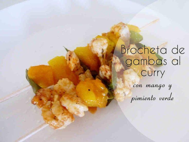 Brocheta de Gambas al Curry con mango y pimiento verde