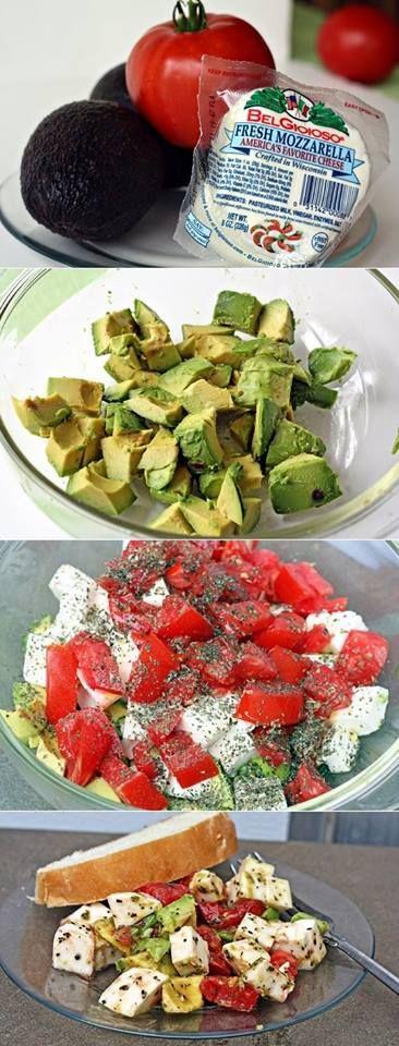 Avocado / Tomato/ Mozzarella Salad Recipe: Per Chef John: use less basil, add lemon and more salt