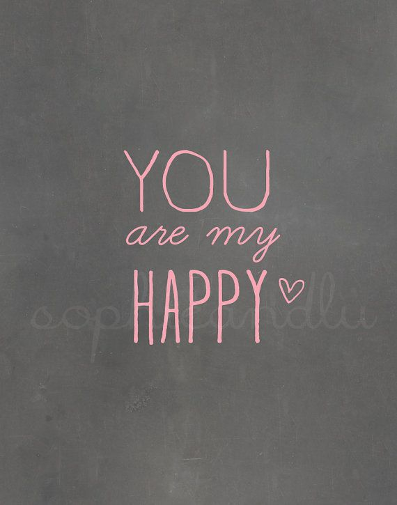 SALE You are my Happy PDF print Engagement Wedding LOVE 50 percent off Think Spring Chalkboard Pink Pastel