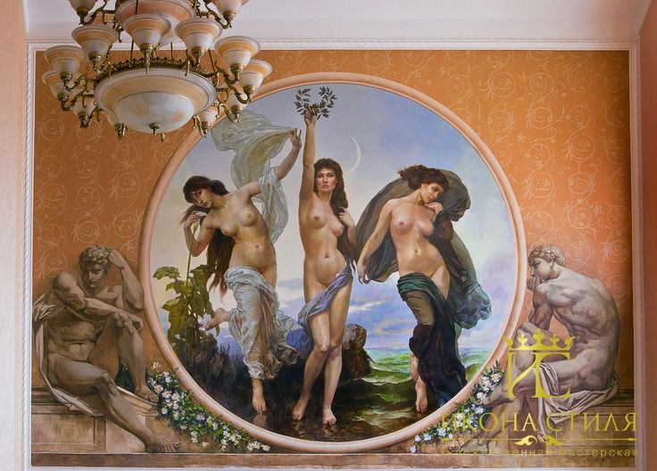 The fresco on the wall. Three Graces - Beauty, Pleasure and Chastity. #paint #draw #interior #decor #design #mural #fresco