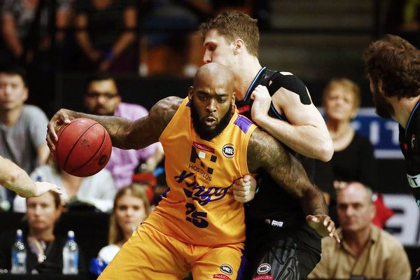 Josh Powell of Sydney backs into Rob Loe of New Zealand during the round three NBL match between the New Zealand Breakers and the Sydney Kings at the North Shore Events Centre on October 20, 2016 in Auckland, New Zealand.