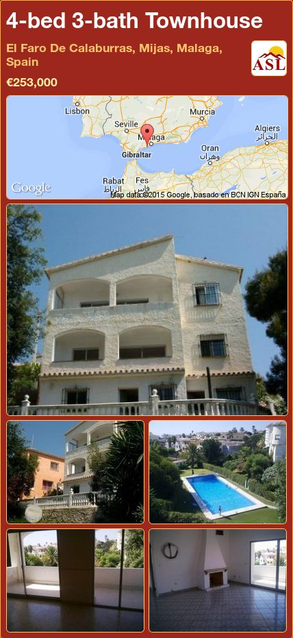 4-bed 3-bath Townhouse in El Faro De Calaburras, Mijas, Malaga, Spain ►€253,000 #PropertyForSaleInSpain