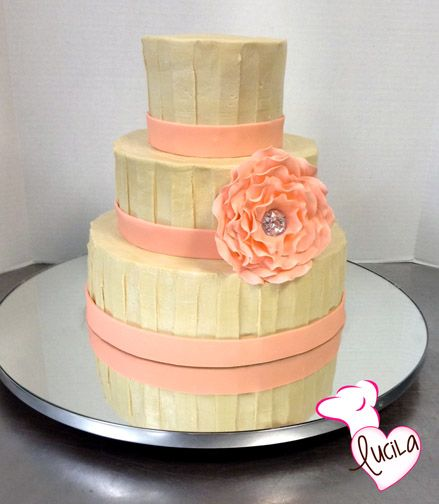 Simple but elegant design using buttercream icing with fondant accents and  real jewelery for a dazzling23 best Wedding Cakes images on Pinterest   Weddings  Sweets art  . Real Simple Wedding Cakes. Home Design Ideas