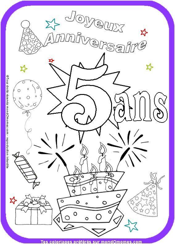 12 Unique Carte Anniversaire Garçon 5 Ans À Imprimer Gratuit Photos | Coloriage anniversaire ...