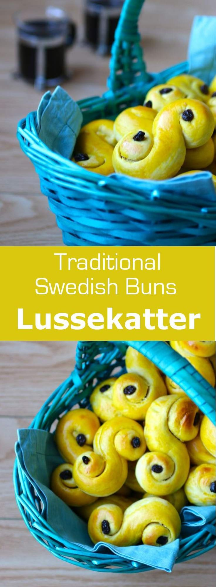 Lussekatter are small saffron buns that are popular in Sweden during Saint Lucy Day's celebrations on December 13th. #dessert #sweden #196flavors