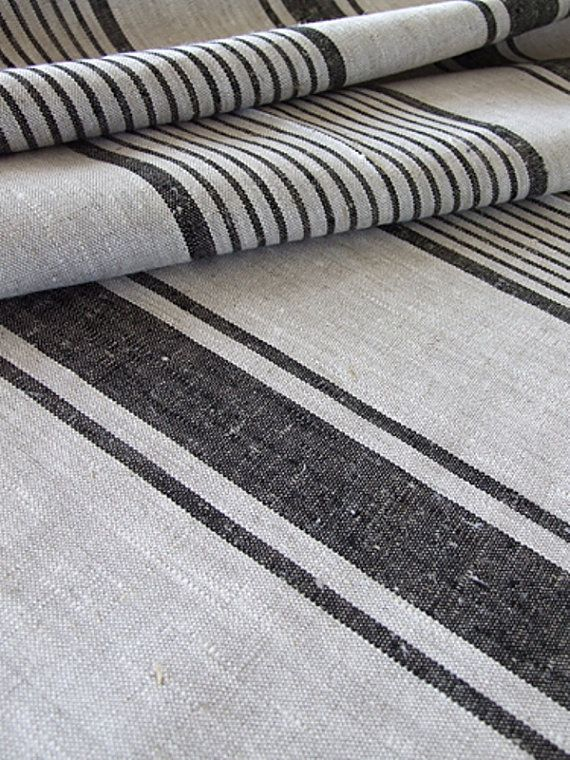 Natural Black Striped Linen Fabric: Remodelista