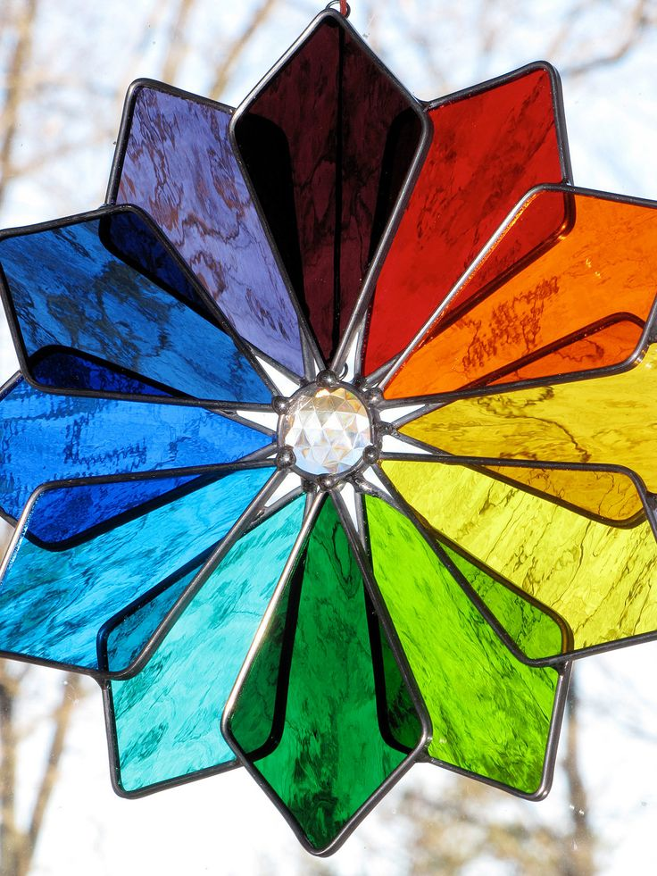 Stained Glass Suncatcher - Color Spectrum Star Burst, Sunburst, Rainbow, Double 3-D Star. $55.00, via Etsy.