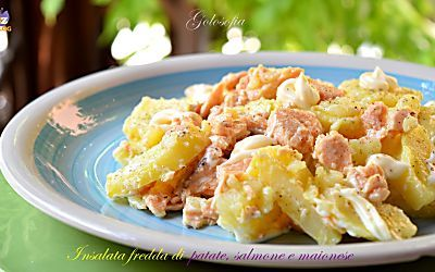 Insalata fredda di patate, salmone e maionese-ricetta gustosissima