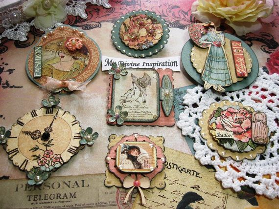 A Ladys Diary Scrapbook Embellishments by mydivineinspiration, $5.89