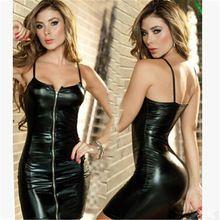 Seksi Kadın Siyah Rugan Lateks Elbise Moda Siyah Kayış Ön Fermuar Dans Clubwear Giyim Performans Kostüm kz416(China (Mainland))
