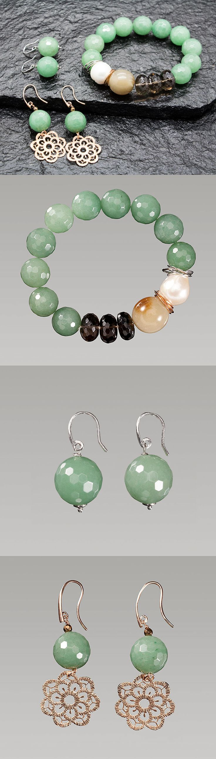 Wonderful green earrings and bracelet, handmade in Italy. All natural stones and pearls, Silver 925 without Nichel. Join on our website: http://www.antogioielli.it/